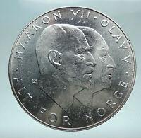 1970 NORWAY KING Olav V Haakon VII Norwegian 25 KR Silver 25 Kronor Coin i81639