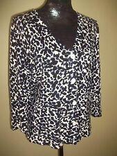 Laura Ashley V neck animal print blue-black-white cardigan-3/4 sleeve-size Large