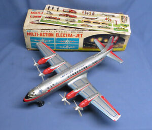 Vintage Rosko Japan Tin Prop Airplane American Airlines Battery Operated Toy