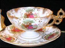 JAPAN ORNATE HUGE BREAKFAST TEACUP FOOTED COURTING COUPLE CUP & SAUCER