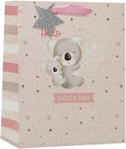 Medium Birth of Baby Shower Girl Gift Bag - Pink with Koala Bear Silver Glitter