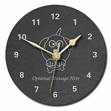 Puppy Design Slate Clock - Personalised with text of your choice(Large (300mm)