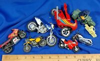 LOT 8 Antique-VTG Motorcycle Mini Toys Models Harley Hong Kong Dirtbike Diecast-