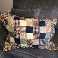 Patchwork Quilted Pillow Sham Set of 2 Standard Country Plaid Check Florals