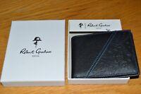 NWB Robert Graham Mens bi-fold black leather wallet  blue trim