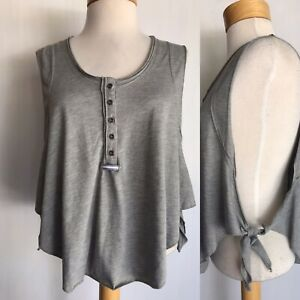FREE PEOPLE MOVEMENT High Tide Cropped Side Tie Gray Tank Top Women's Size XS