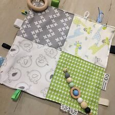 Baby Tactile Teething Blanket/Taggie, Large Sensory 29cm, Quality, Lime Grey