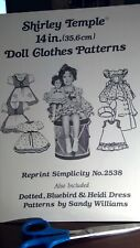 "Shirley Temple Doll Dresses Pattern Book for 14"" doll uncut"