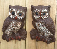 Vintage Set of 2 Owl Wall Plaques Foam Hanging Decor