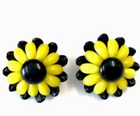 Vintage Large SUNFLOWER Yellow Black GLASS Clip On Earrings GIFT BOXED