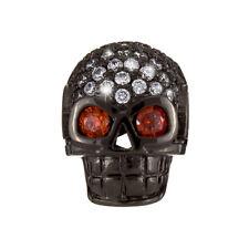 Brass Hollow Skull Bead Micro Pave Rhinestone Black 13mm (H89/7)