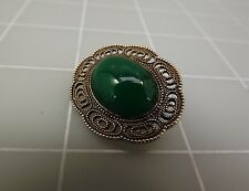 Vintage Silver Tone Oval GREEN STONE W/ FILIGREE Brooch Pin