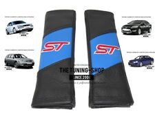 "2x Seat Belt Covers Pads Blue & Black Leather ""ST"" Edition For Ford Mondeo"