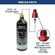 20Oz CO2 Pin Valve Cylinder Tank Paintball w/ Mini Cartridge Conversion Adapter
