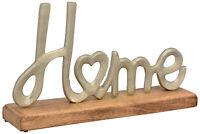 Schriftzug HOME Aluminium Guss auf Holzsockel 33 cm