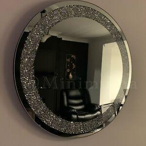 Large Round Silver Wall Mirror Bathroom 60cm Round Silver Diamante Jewel Mirror