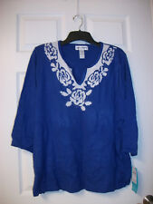 CATHY DANIELS SWEATER TOP WOMEN'S PLUS SIZE 3X ROYAL BLUE/WHITE NEW/NWT ORG $56