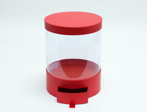 Clear Round Shape Bouquet Flower Box with Red Lid and Base with Drawer,Gift Box