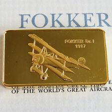 FOKKER DR.I GOLD PLATED PROOF INGOT - jane's medallic register