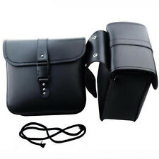 Qty2 Waterproof Motorcycle PU Leather Saddle Bags Storage Tool Pouch Left&Right