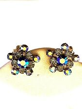 Weiss Blue Aurora Borealis Vintage Earrings