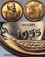 1955 S - DIE CLASH - DIE CRACK -STRUCK THRU - WHEAT CENT MAJOR MINT ERROR #10633