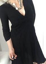 NOLITA DE NIMES WOMENS DRESS A LANA V NECK LANA WOOL 3/4 Slv Black Sz 44