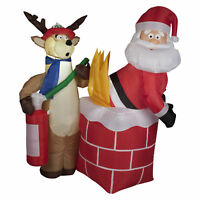 4 ft. Santa in Chimney on Fire Christmas Inflatable