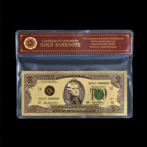 US $2 Two Dollar Bill Legal Tender Currency 24K Gold Colored Banknote /w COA