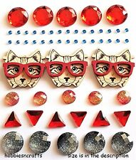 RECOLLECTIONS THEMED 3-D STICKERS - GEMSTONE FUNKY CATS BLING WITH GLASSES