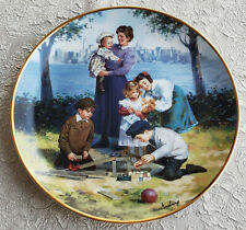 Franklin Mint Max Ginsburg Ellis Island Collector Plate Building A Future Family