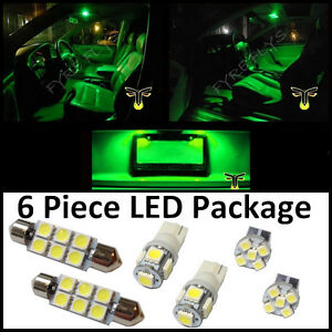 6 Green LED interior lights package T10 & 42mm map dome + license plate lamp G2G
