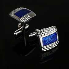 New Silver Plated Pair of Cufflinks Blue Floral Pattern Suit Wedding Gift Bag