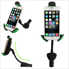 Dual USB Port Cigarette Lighter Plug Car Mount Charger Holder For Smartphone GPS