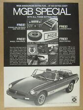 1977 MG MGB Special Free Extras car photo vintage print Ad