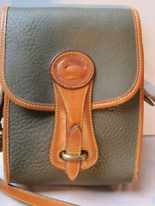 Dooney & Bourke Leather cross body bag olive with tan trim