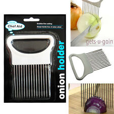 Onion Holder Slicer Hold Cutter Chopping Tomato Potato Vegetable Steel Tool Aid