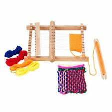 Wooden Weaving Loom w/ Adjusting Rod Shuttle Comb 4 Small Rolls of Colorful Yarn