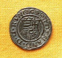 Medieval Hungarian Coin - Habsburg Ferdinand Silvered Bronze Denar. Madonna