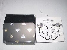 Traci Lynn Jewelry Ear Muff Double Stud Earrings Silver/Clear NEW