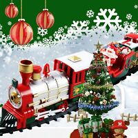 New Electric Christmas Train Kids Toy Xmas Gift Train Track Set Village Railway