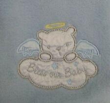 "Rashti & Rashti Baby Starters Baby Blanket ""Bless Our Baby"" Angel Blue Teddybear"