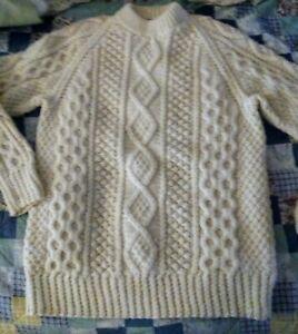 Fisherman knit Ireland 100% Wool ivory Chunky Irish Cable Knit Sweater  XL 42