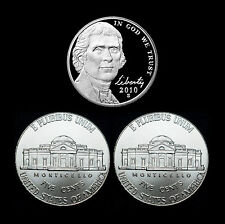 2010 P+D+S Jefferson Nickel Set ~ Gem Proof and  PD from Bank Rolls