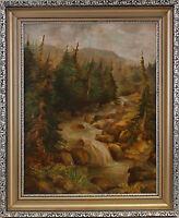 8360089 Öl-Gemälde signiert Koukl Bachlauf im Gebirge Wald Böhmen Mitte 20.Jh.