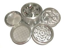 "SharpStone® 2.5"" Inch 4pc Crank Top Herb Tobacco Large Silver Grinder + Extras"