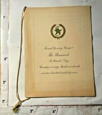 1949 Formal Grand Opening The Shamrock St Patrick's Day Texas Menu & Program