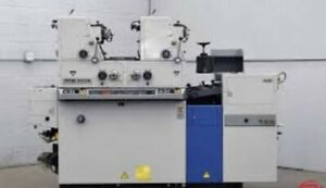 Ryobi 3302 2-color press, under power & good condition. can be seen running.
