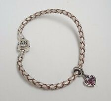 Pandora Silver Brown Leather Bracelet with Heart Charm 7''