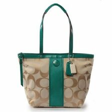 NWT COACH Signature Stripe Tote Bag Purse Handbag 21950 Light Khaki/Bright Jade